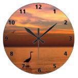 Ocean View at Sunset Large Clock