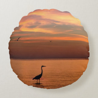 Ocean View at Sunset Round Pillow
