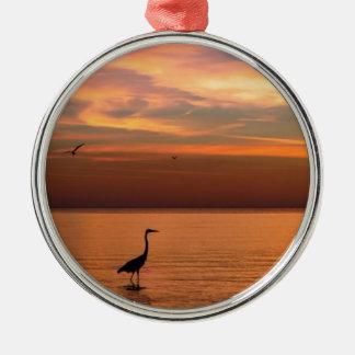 Ocean View at Sunset Metal Ornament