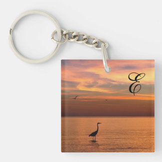 Ocean View at Sunset with Monogram Keychain