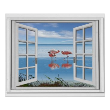 Beach Themed Ocean View Fake Window With Flamingos On Beach Poster
