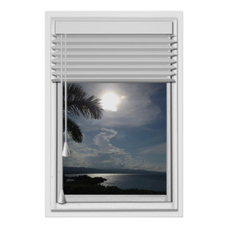 Ocean View Faux Window With Blinds Poster