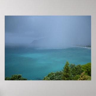 Ocean View Pauanui Beach Raincloud Turquoise Green Poster