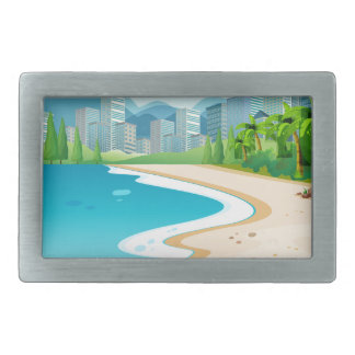 Ocean view rectangular belt buckle