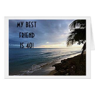 "OCEAN VIEW SAYS MY BEST FRIEND IS ""40"" GREETING CARD"