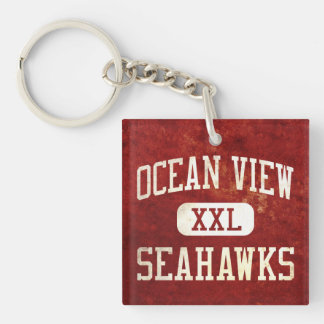 Ocean View Seahawks Athletics Double-Sided Square Acrylic Keychain
