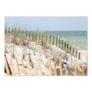 Ocean view through the dune and beach fence card