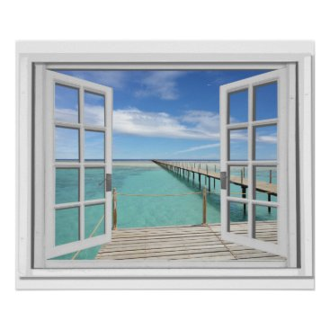 Beach Themed Ocean View Trompe l'oeil Fake Window Poster
