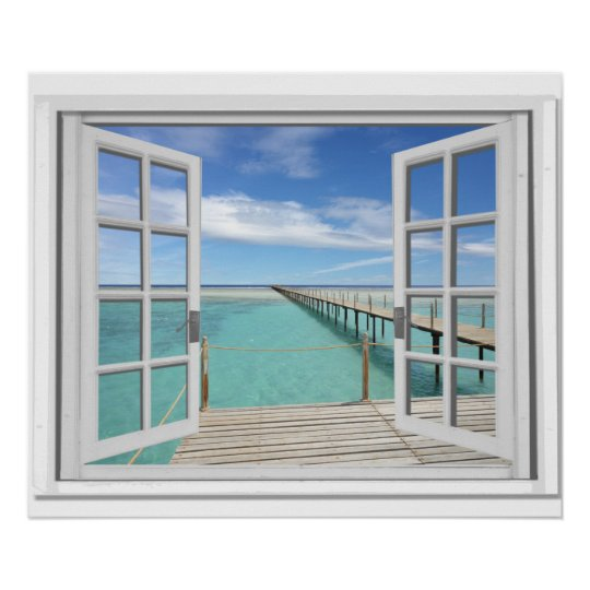 ocean view trompe l 39 oeil fake window poster. Black Bedroom Furniture Sets. Home Design Ideas