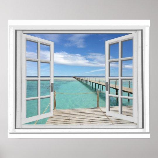 ocean view trompe l 39 oeil fake window poster. Black Bedroom Furniture Sets. Home Design Ideas