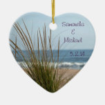 Ocean View Wedding Date Ornament