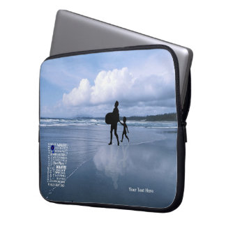 Ocean View with Best Dad Collage Laptop Sleeve