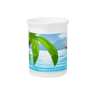 Ocean view with sail floating on water drink pitcher