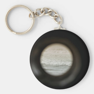 Ocean viewed through lens keychain