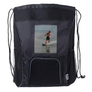 Ocean Wakeboarder Drawstring Backpack