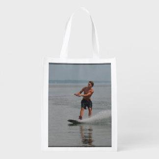 Ocean Wakeboarder Grocery Bags
