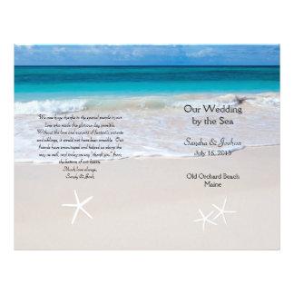 """Ocean Water & Beach Sand Wedding Program Template 8.5"""" X 11"""" Flyer"""