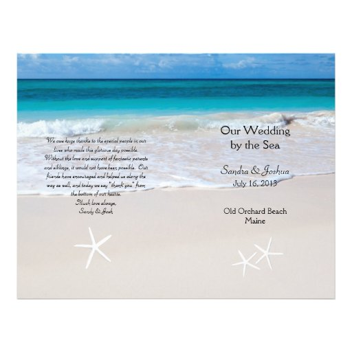 Ocean Water amp Beach Sand Wedding Program Template Flyers