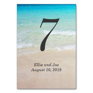 Ocean Water Beach Wedding Reception Table Card