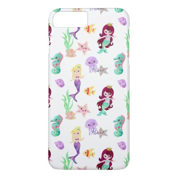 Beach Themed Ocean Watercolor Mermaids Starfish Jellyfish iPhone 8 Plus/7 Plus Case