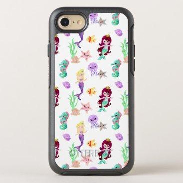 Beach Themed Ocean Watercolor Mermaids Starfish Jellyfish OtterBox Symmetry iPhone 8/7 Case