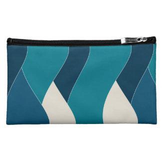 Ocean Wave Inspired Water Sea Nautical Navy Teal Cosmetic Bag