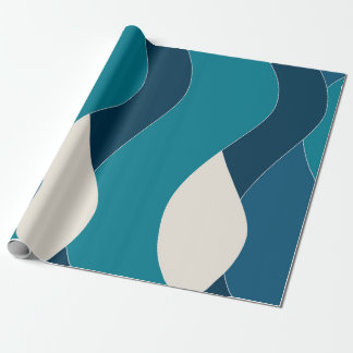 Ocean Wave Inspired Water Sea Nautical Navy Teal Wrapping Paper