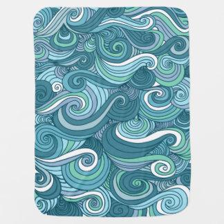 Ocean Wave Line Drawing Stroller Blanket