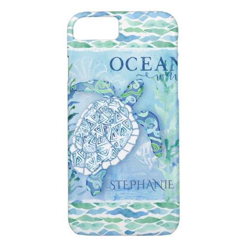 Ocean Wave Modern Triangle Pattern Sea Turtle Phone Case