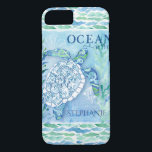 "Ocean Wave Modern Triangle Pattern Sea Turtle iPhone 8/7 Case<br><div class=""desc"">A modern silhouette filled with geometric triangle patterned watercolor and over a background of watercolor seaweed, vintage fish and sail boat elements and a typography style text that reads, &quot;Ocean waves.&quot; The phone can also be personalized with your customized name or message (or leave the template blank if you don&#39;t...</div>"