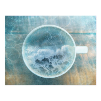 Ocean Wave Sea Foam Coffee Latte Cup Postcard