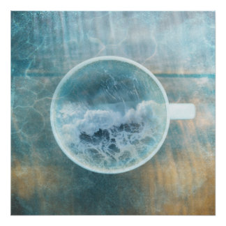 Ocean Wave Sea Foam Coffee Latte Cup Poster