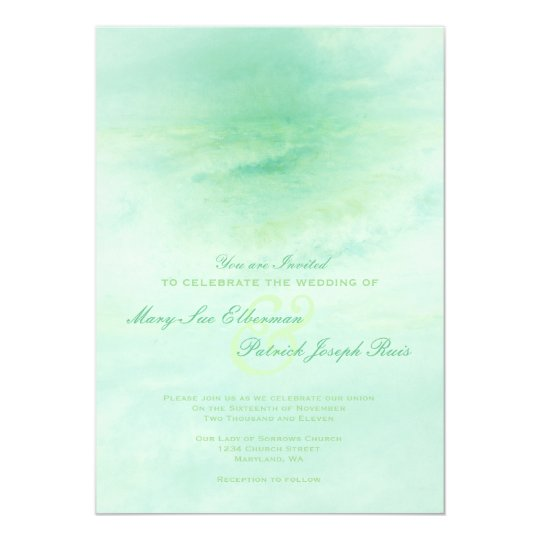 Seafoam Green Wedding Ideas: Ocean Wave: Seafoam Green Wedding Invitation