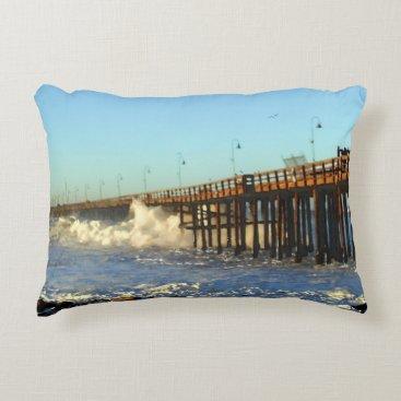 Beach Themed Ocean Wave Storm Pier Accent Pillow
