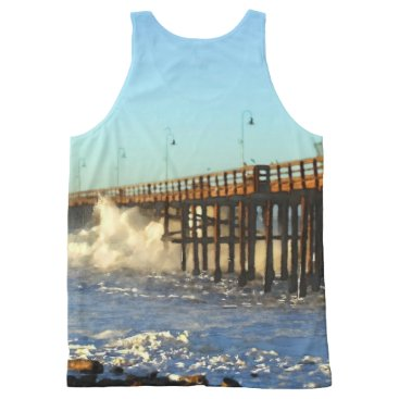 Beach Themed Ocean Wave Storm Pier All-Over-Print Tank Top
