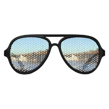 Beach Themed Ocean Wave Storm Pier Aviator Sunglasses