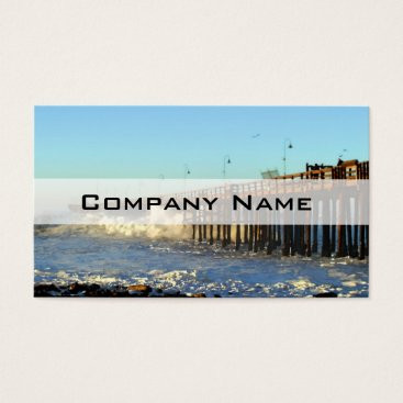 Beach Themed Ocean Wave Storm Pier Business Card