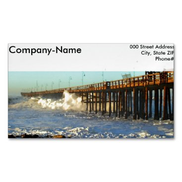 Beach Themed Ocean Wave Storm Pier Business Card Magnet