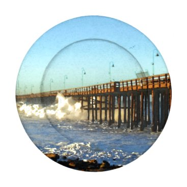 Beach Themed Ocean Wave Storm Pier Button Covers