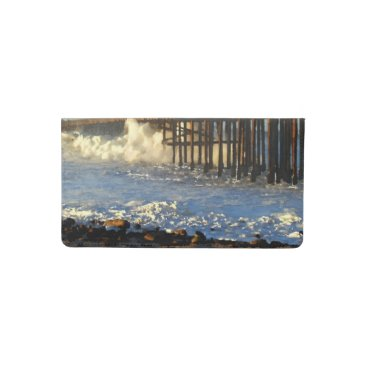 Beach Themed Ocean Wave Storm Pier Checkbook Cover