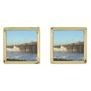 Beach Themed Ocean Wave Storm Pier Cufflinks