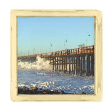 Beach Themed Ocean Wave Storm Pier Gold Finish Lapel Pin