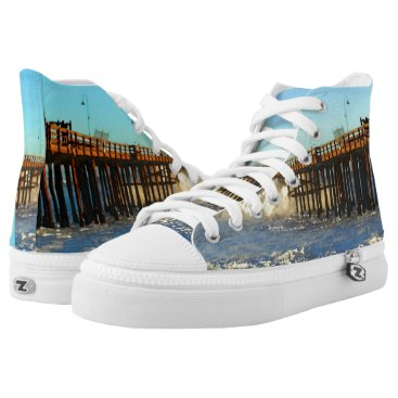 Beach Themed Ocean Wave Storm Pier High-Top Sneakers