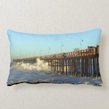 Beach Themed Ocean Wave Storm Pier Lumbar Pillow