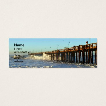 Beach Themed Ocean Wave Storm Pier Mini Business Card
