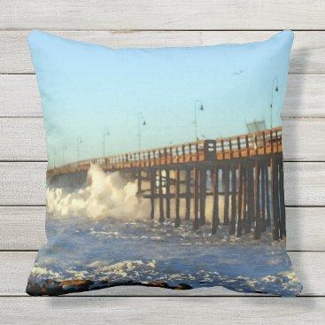 Beach Themed Ocean Wave Storm Pier Outdoor Pillow