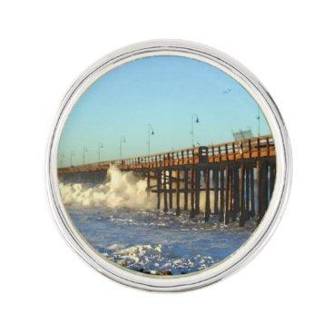 Beach Themed Ocean Wave Storm Pier Pin