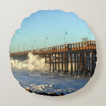 Beach Themed Ocean Wave Storm Pier Round Pillow