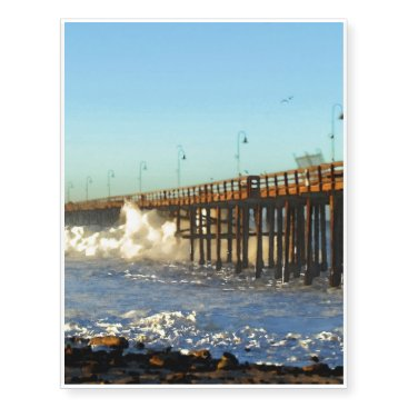 Beach Themed Ocean Wave Storm Pier Temporary Tattoos