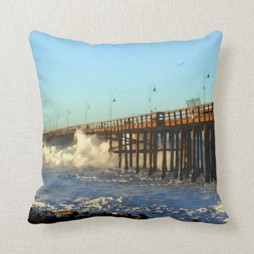 Beach Themed Ocean Wave Storm Pier Throw Pillow